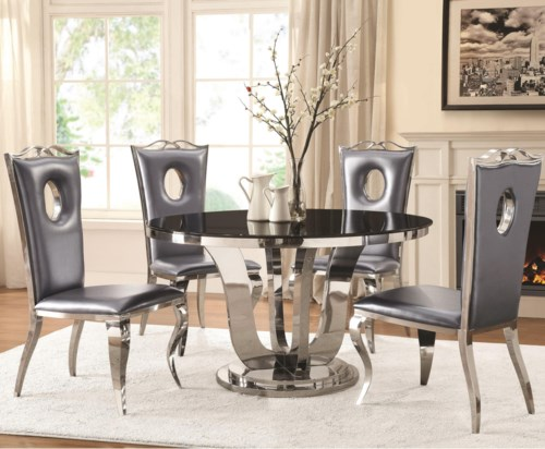 Glam Five Piece Dining Set With Round Table And Faux Leather Chairs
