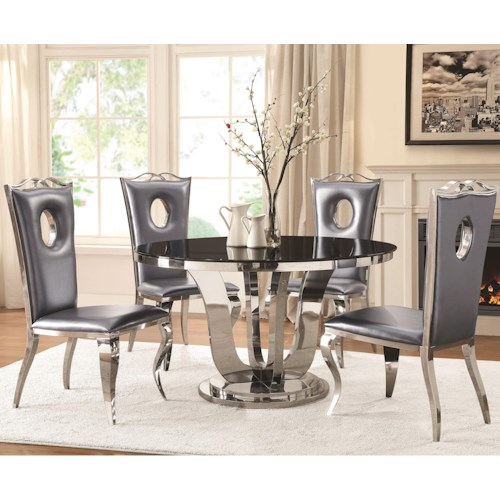 Coaster Blasio Glam Five Piece Dining Set with Round Table and Faux Leather Chairs