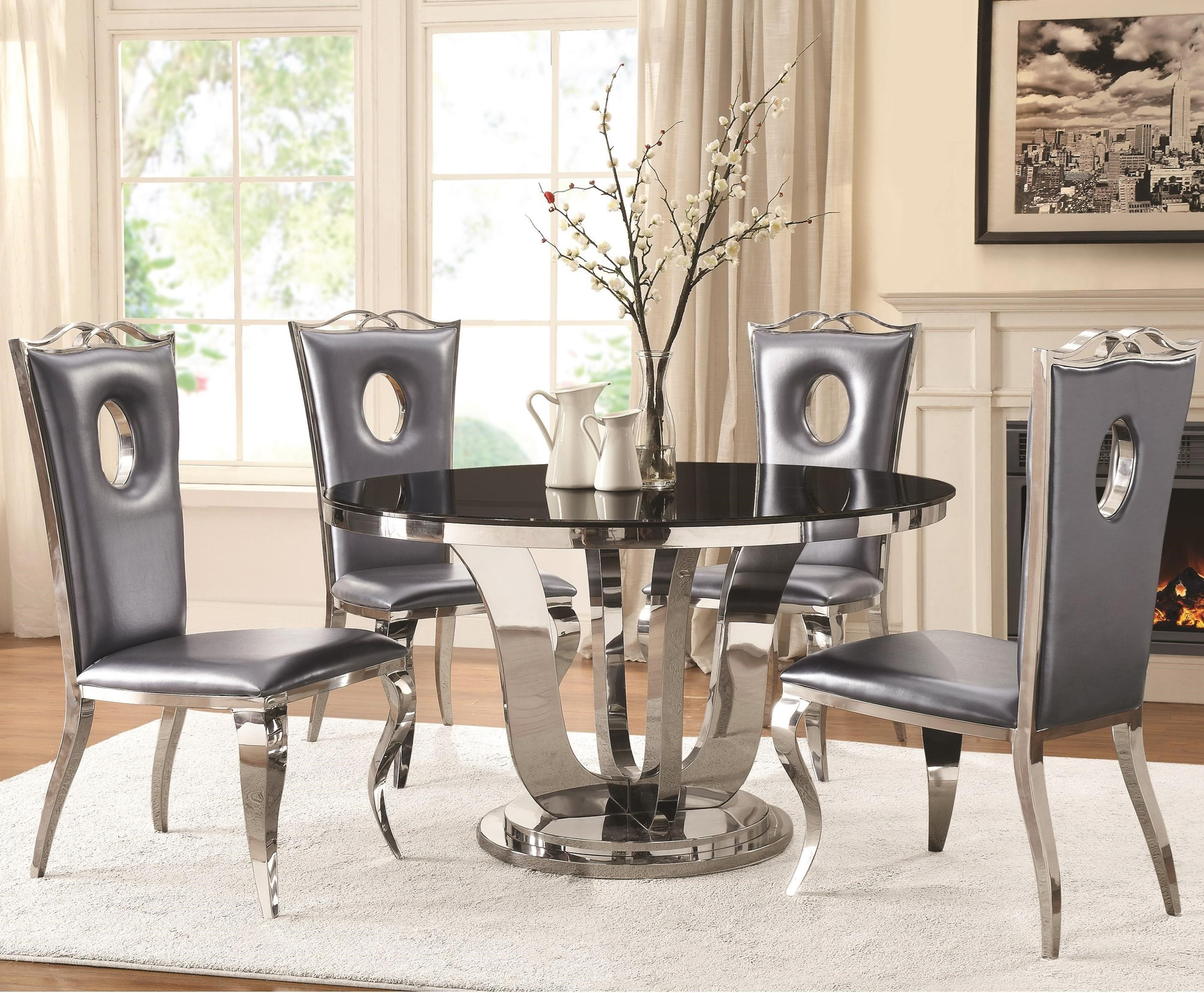 Attirant Blasio Glam Five Piece Dining Set With Round Table And Faux Leather Chairs  By Coaster