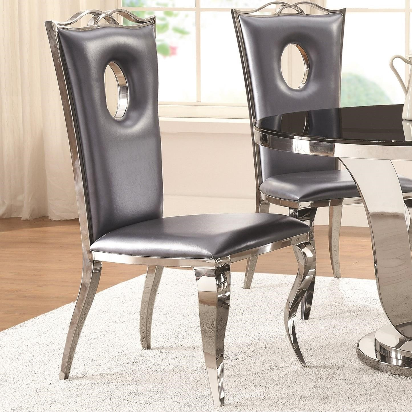 Coaster Blasio Glam Dining Chair With Faux Leather Seat