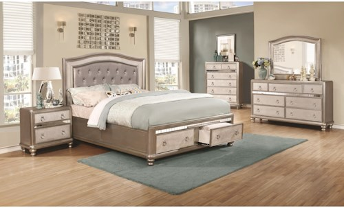 Coaster Bling Game King Bedroom Group with Storage Bed