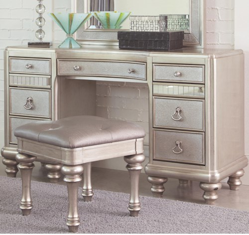 Coaster Bling Game Vanity Desk with 7 Drawers and Stacked Bun Feet