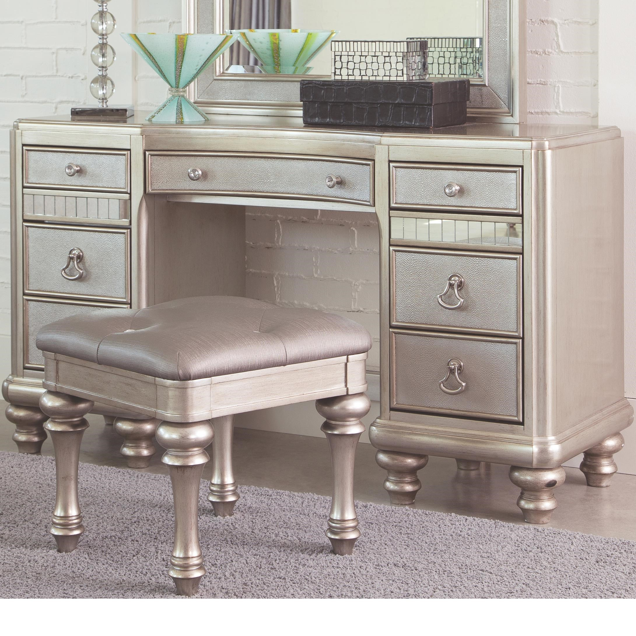 Coaster Bling GameVanity Desk With 7 Drawers ...