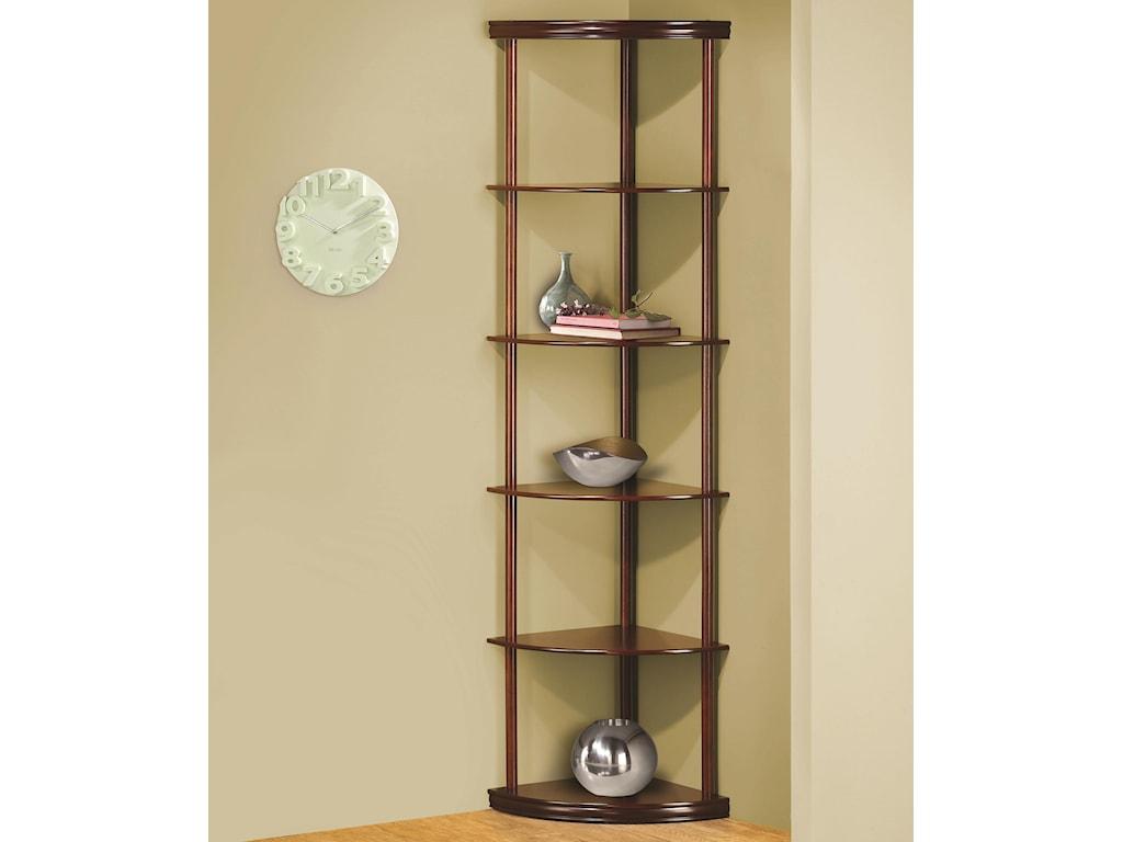 Coaster Bookcases Corner Bookshelf In Medium Finish