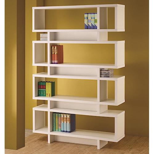 Coaster Bookcases Contemporary White Finish Open Bookcase
