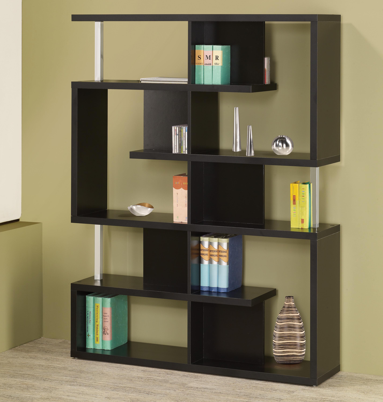 Modern Black Finish Bookcase