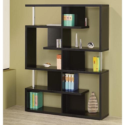 Coaster Bookcases Modern Black Finish Bookcase