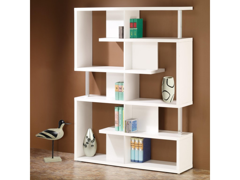 Bookcases Modern White Finish Bookcase By Coaster
