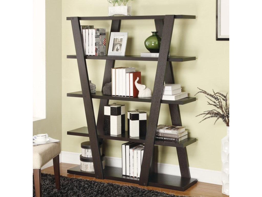 Bookcases Modern Bookshelf With Inverted Supports Open Shelves By Coaster