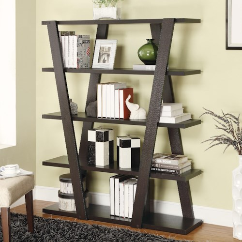 Coaster Bookcases Modern Bookshelf With Inverted Supports Open Shelves