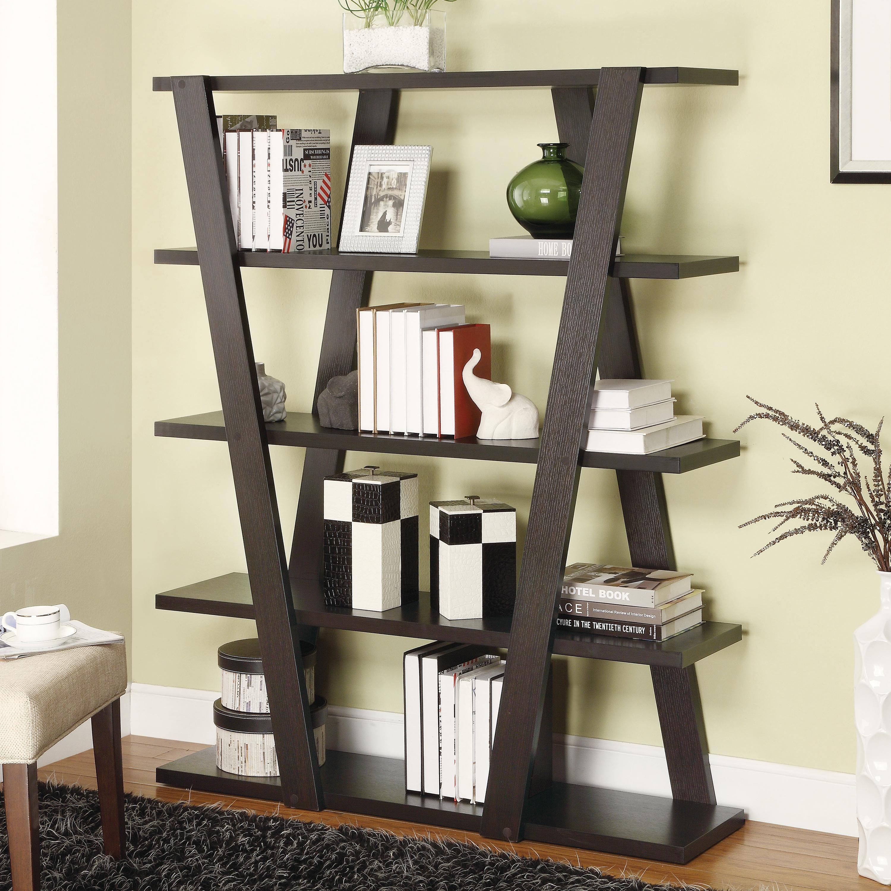 Coaster Bookcases Modern Bookshelf With Inverted Supports U0026 Open Shelves