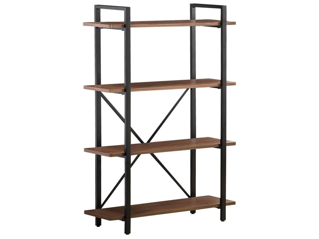 office home bookcases mathis furniture open five shelf bookcase in contemporary medium images brown ash