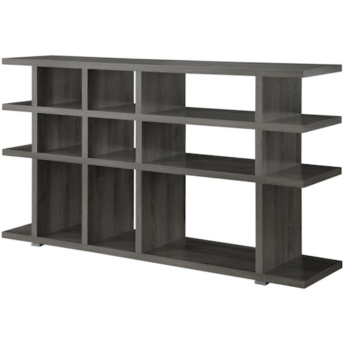 Coaster Bookcases Contemporary Weathered Grey Bookcase Console