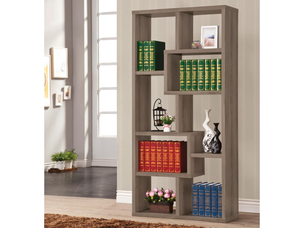 grey glass bookcases coaster in contemporary weathered features tempered this asymmetrical bookcase smoke product with