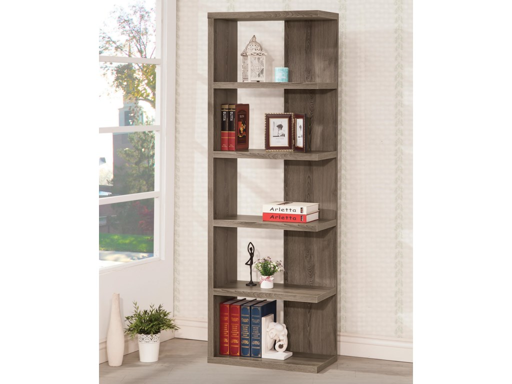 Bookcases 800553 Weathered Grey Semi-Backless Bookcase by Coaster - Coaster Bookcases Weathered Grey Semi-Backless Bookcase - Dunk