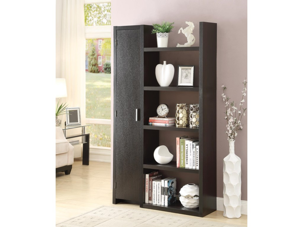 Coaster Bookcases Contemporary Bookcase with Closed Door Storage and 5 Open  Shelves - Miskelly Furniture - Open Bookcases - Coaster Bookcases Contemporary Bookcase With Closed Door Storage