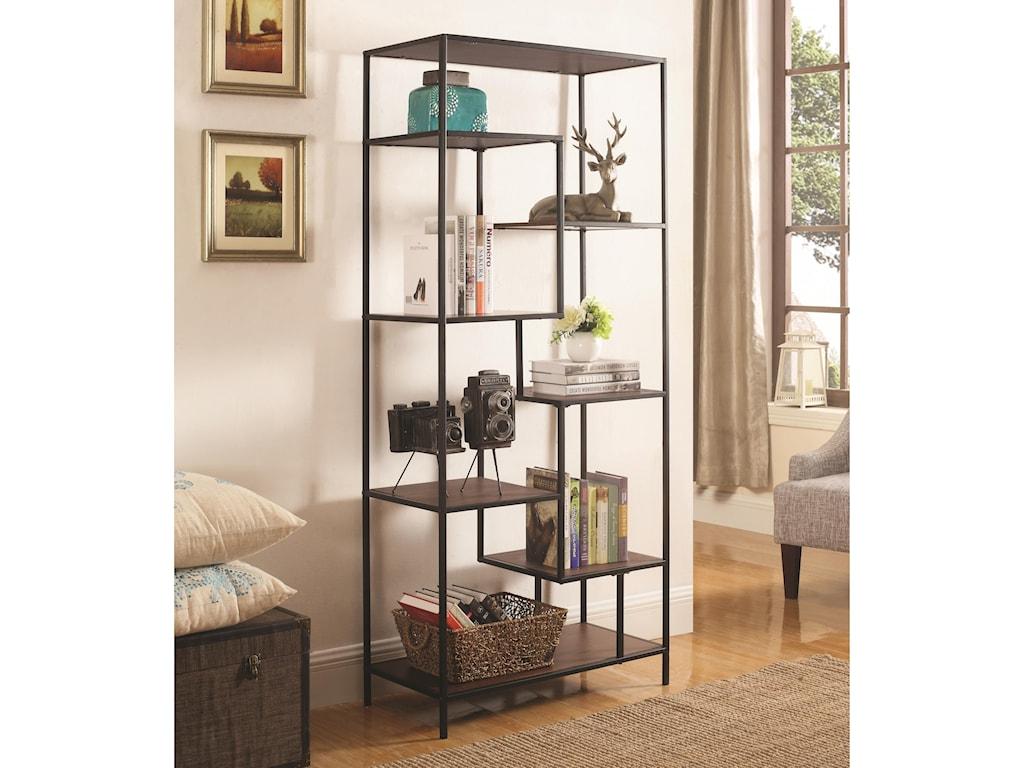 Coaster Bookcases 7 Shelf Steel Framed Bookcase Sadler S
