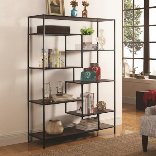 Coaster Bookcases Modern Bookcase With Offset Shelves