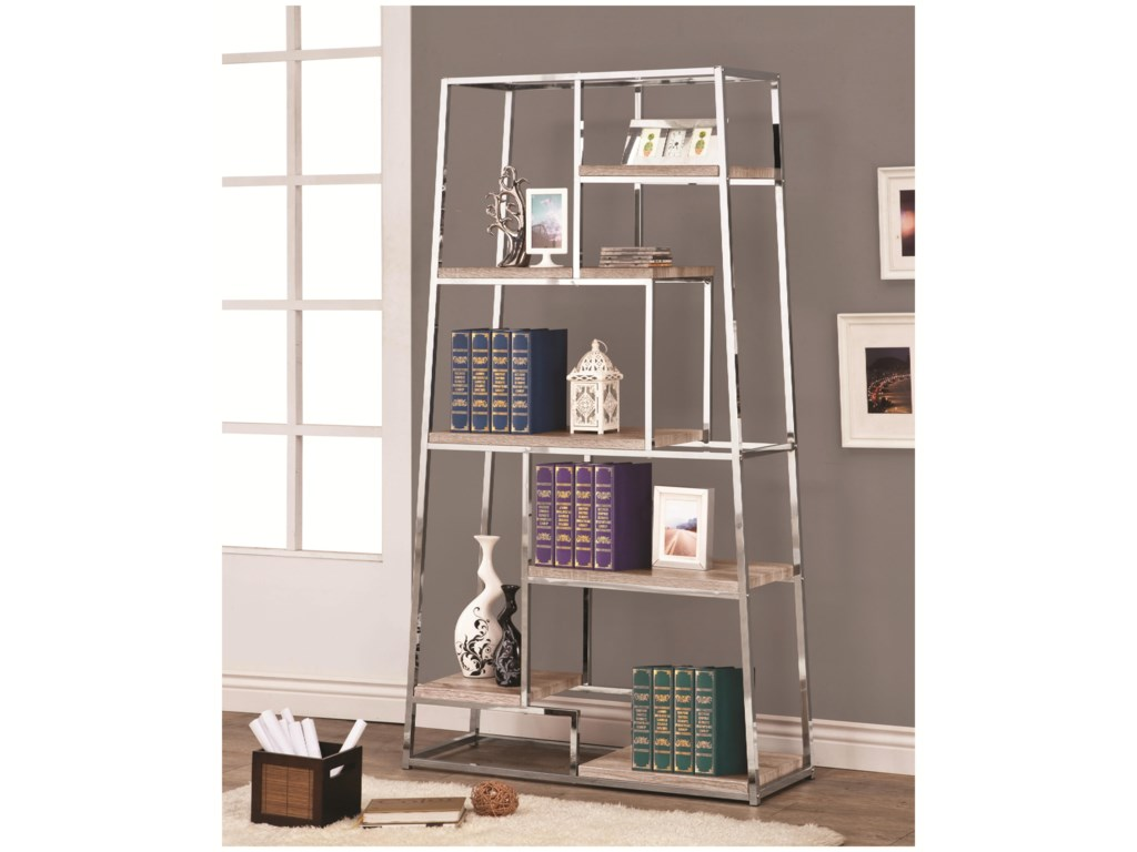 Coaster Bookcases 801163 Tapered Chrome Bookshelf with Staggered Wood  Shelves