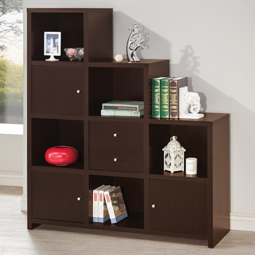 Coaster Bookcases Asymmetrical Bookshelf With Cube Storage