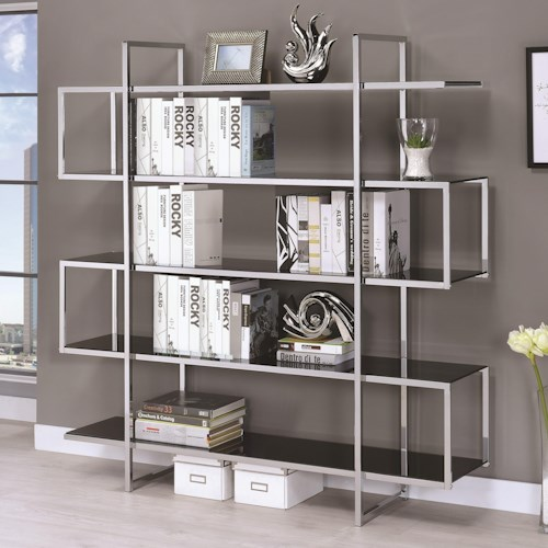 Coaster Bookcases Contemporary Metal And Glass Bookcase