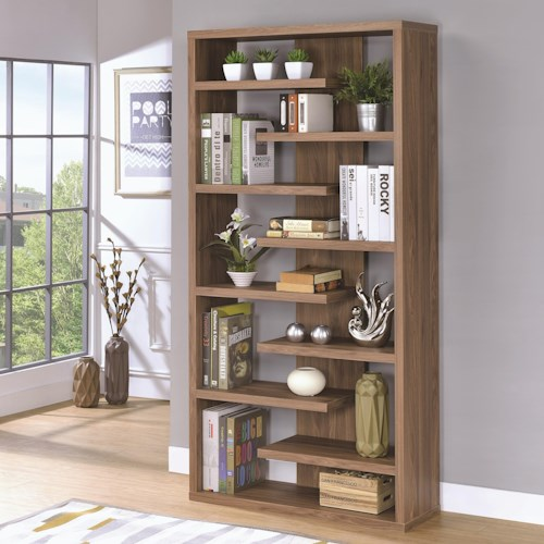 Coaster Bookcases Interjecting Shelf Bookcase with Center Back Panel