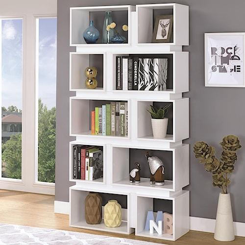Coaster Bookcases 10 Shelf Geometric Bookcase