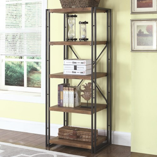 Coaster Bookcases Narrow Industrial Metal And Wood Bookcase