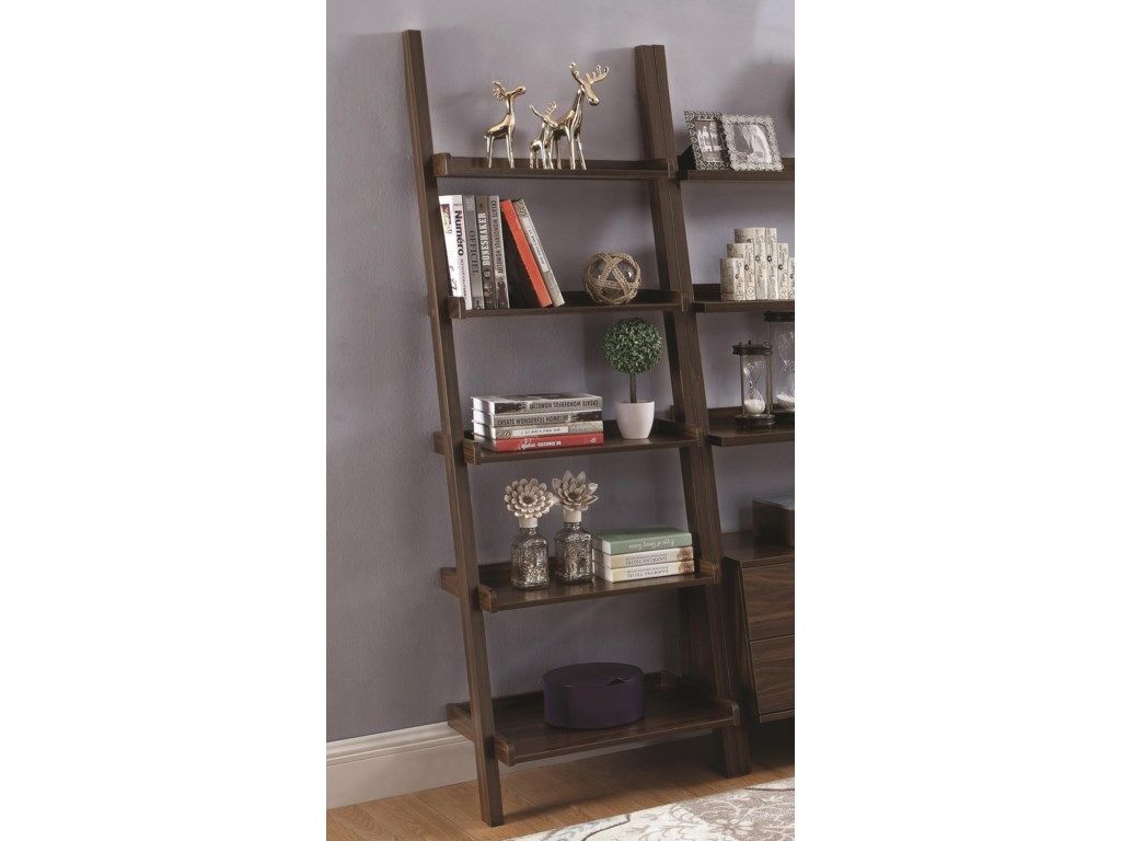 Bookcases 5 Shelf Ladder Bookcase With Dark Walnut Finish By Coaster