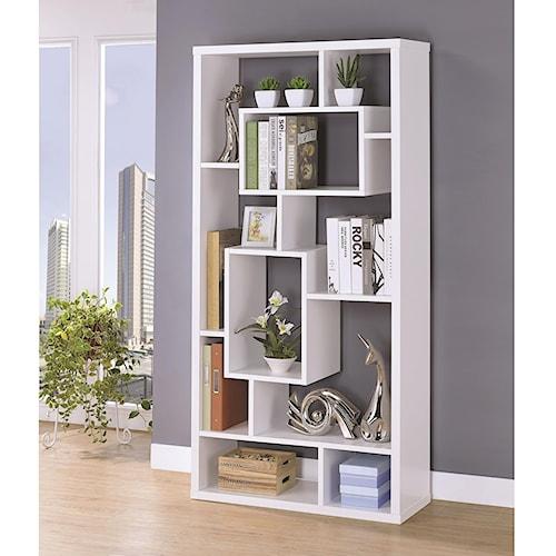 Coaster Bookcases Asymmetrical Cube Book Case With Shelves