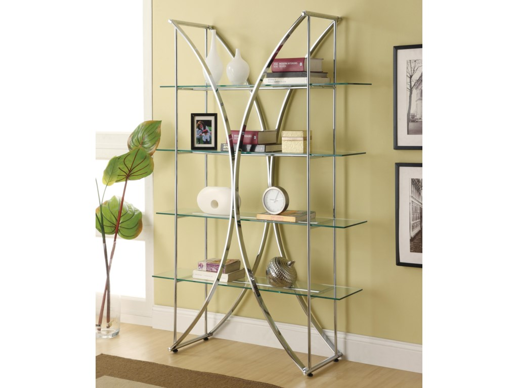 Coaster Bookcases X Motif Chrome Finish Bookshelf With Floating