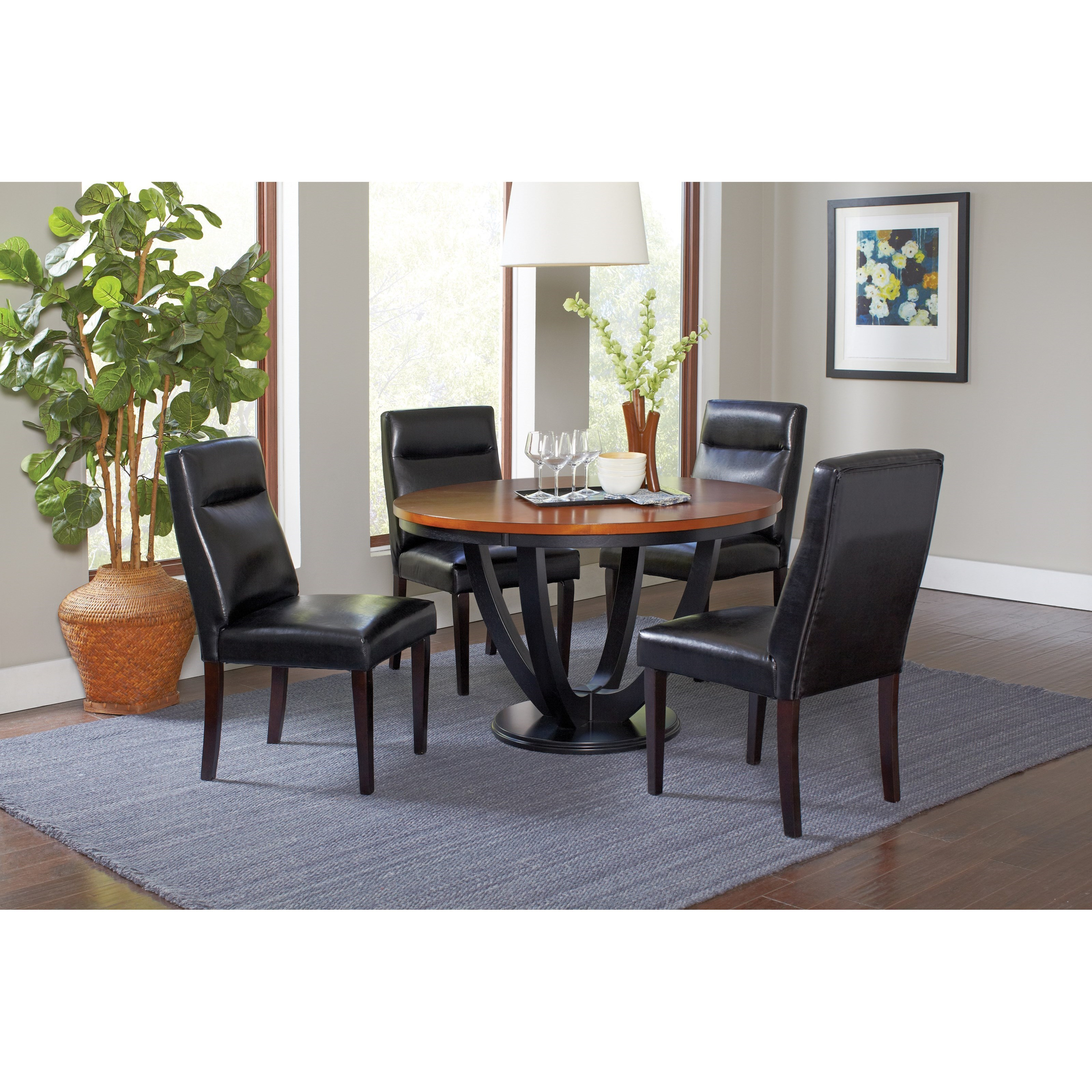 Coaster Boyer Contemporary Five Piece Table And Chair Set   Adcock Furniture    Dining 5 Piece Sets