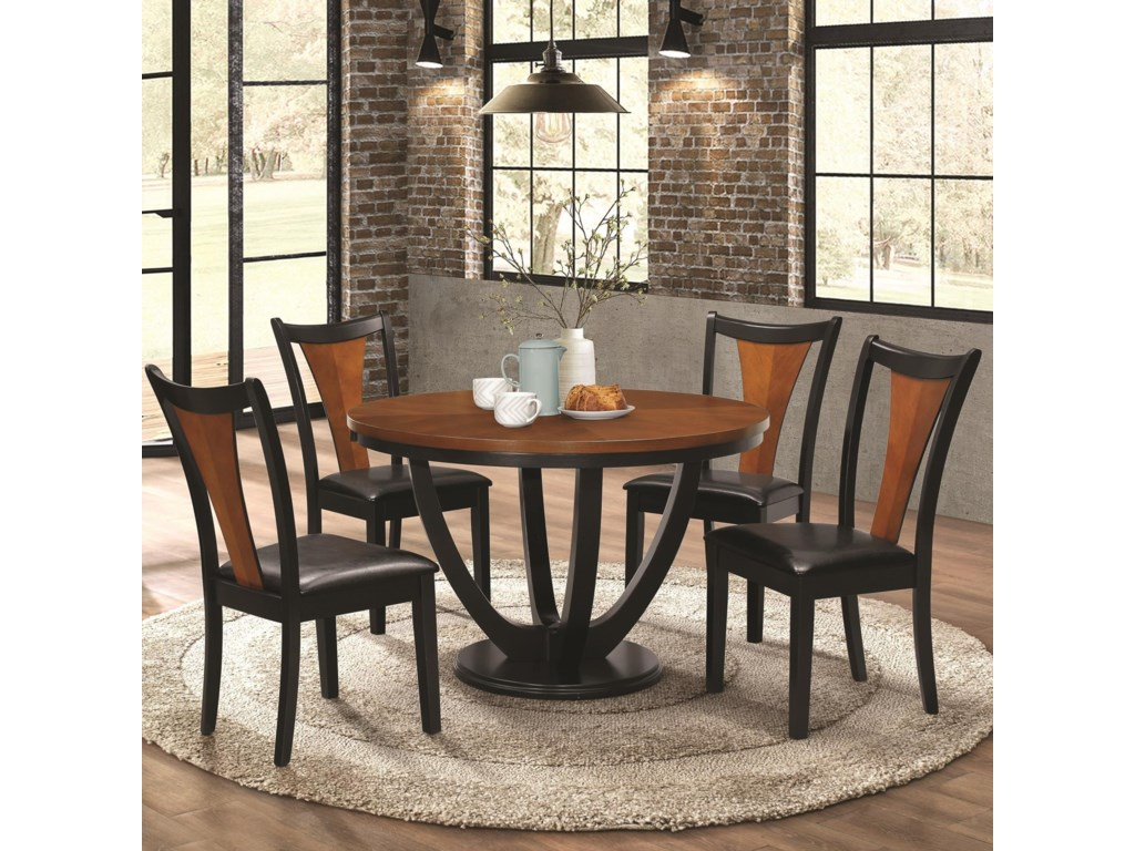 5248a0ef55 Boyer Contemporary 5 Piece Table and Chair Set with Two-Tone Finish by  Coaster