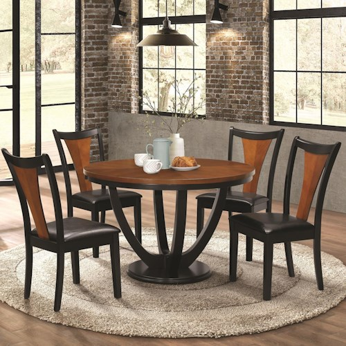 Coaster Boyer Contemporary 5 Piece Table and Chair Set with Two-Tone Finish