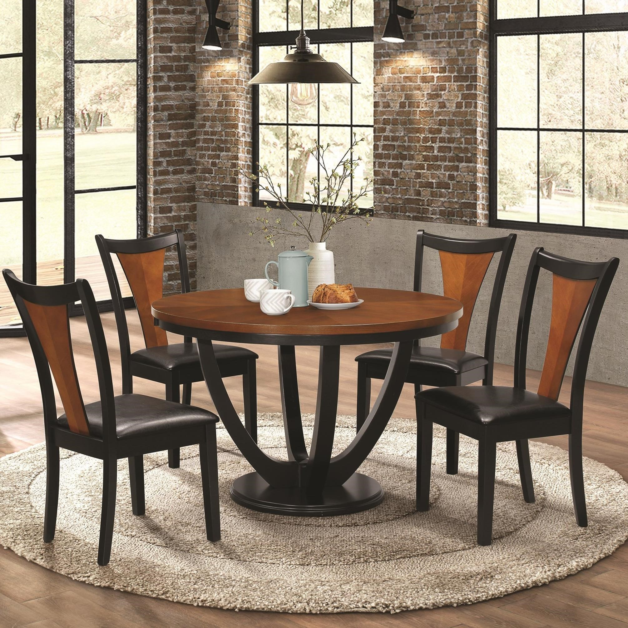 Coaster Boyer Contemporary 5 Piece Table And Chair Set With Two Tone Finish