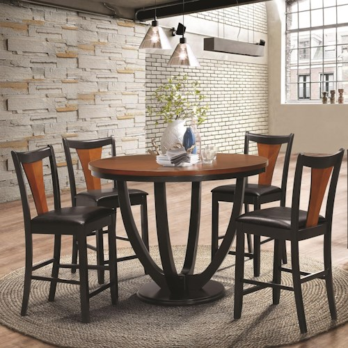 Coaster Boyer Contemporary 5 Piece Counter Height Table and Chair Set