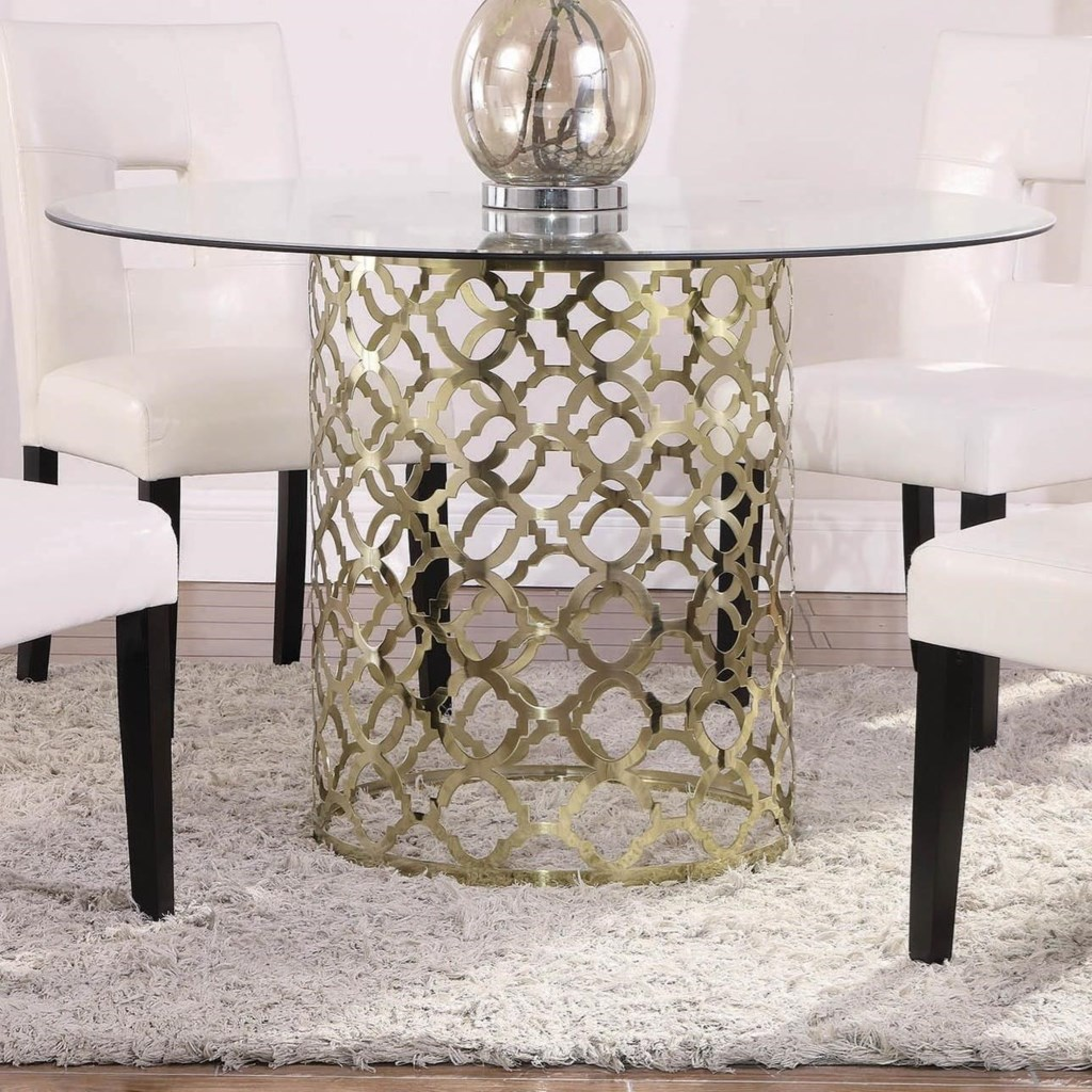 Bradshaw tempered glass top dining table with gold finish base by coaster