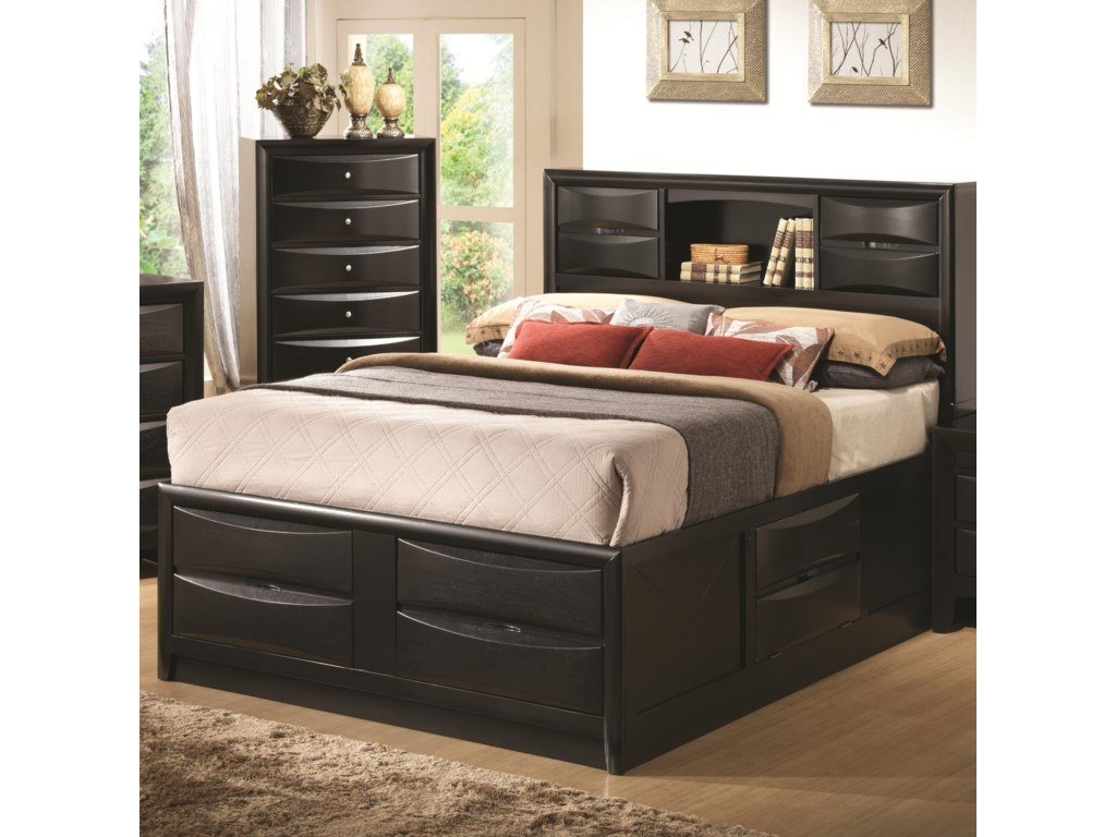 9c2e971f7f9 Coaster Briana 202701Q Queen Contemporary Storage Bed with Bookshelf ...