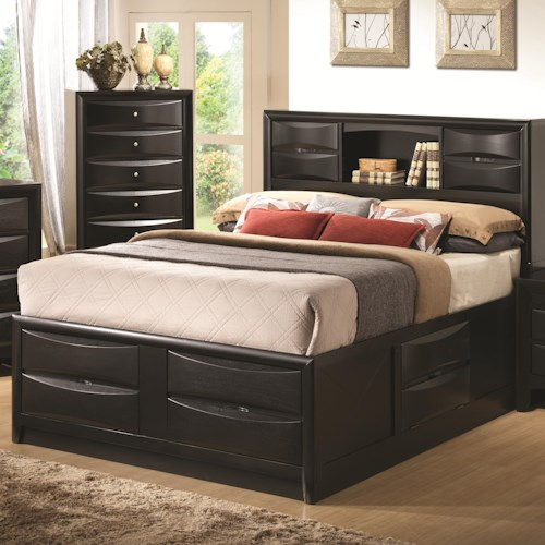 Coaster Briana Queen Contemporary Storage Bed with Bookshelf