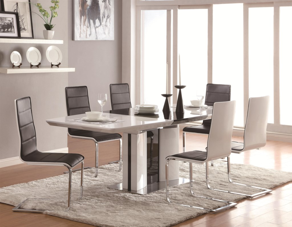 Coaster Broderick Contemporary 7 Piece White Dining Table Set with