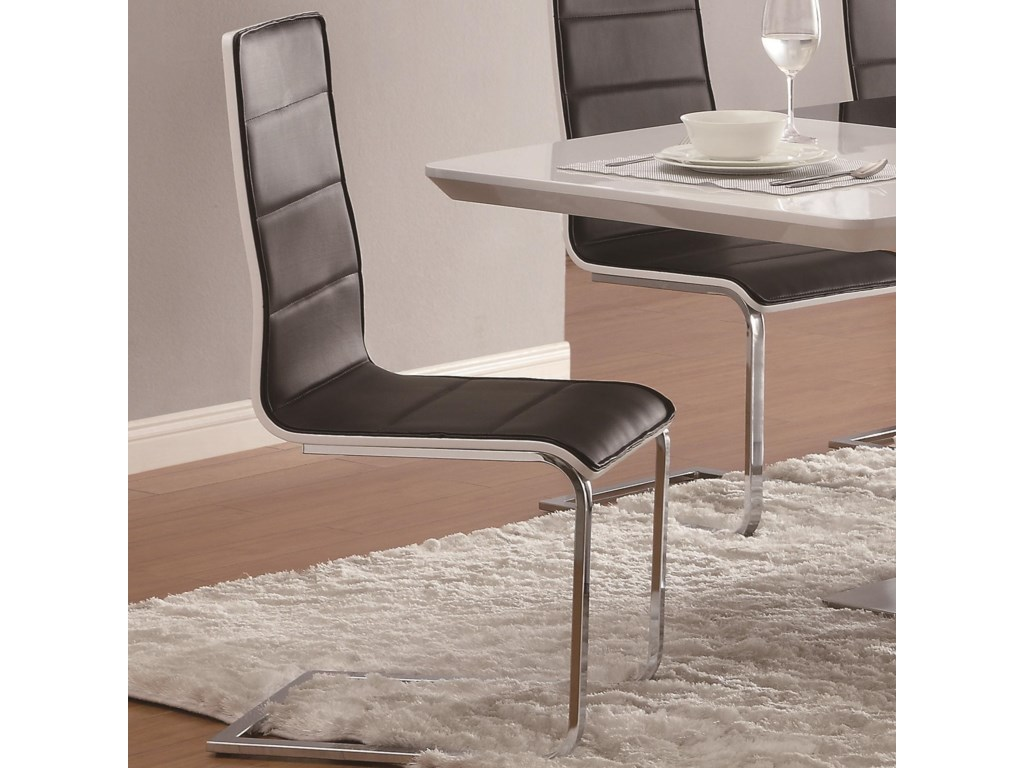 8031d5384d13c Coaster Broderick 120948 Contemporary Dining Side Chair with Upholstered  Faux Black Seats and Chrome Legs