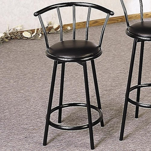Coaster Buckner 24 Metal Bar Stool With Faux Leather Swivel Seat Value City Furniture Bar