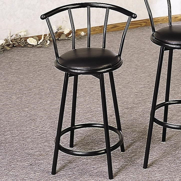 Coaster Buckner 24 Metal Bar Stool With Faux Leather Swivel Seat