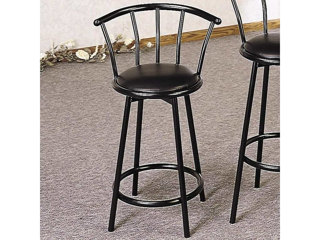 Buckner 24 Metal Bar Stool With Faux Leather Swivel Seat By Coaster At Value City Furniture