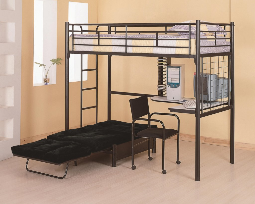 Coaster Bunks Twin Loft Bunk Bed with Futon Chair & Desk | Dunk