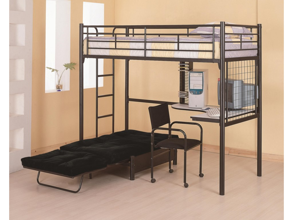 Bunks Twin Loft Bunk Bed With Futon Chair Desk By Coaster At Lar Furniture Mattress Center