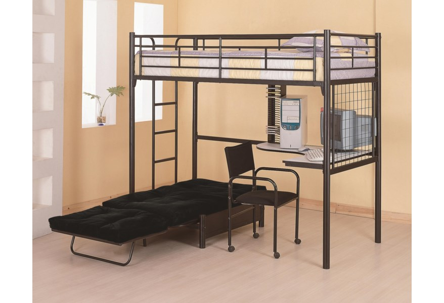 Coaster Bunks Twin Loft Bunk Bed With Futon Chair Desk Rife S
