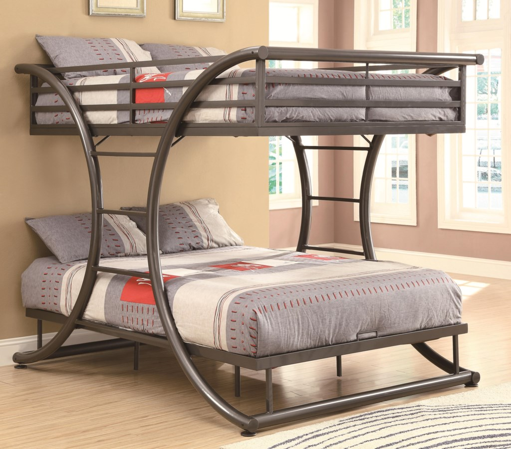 Contemporary Bunk Beds coaster bunks full-over-full contemporary bunk bed - dunk & bright