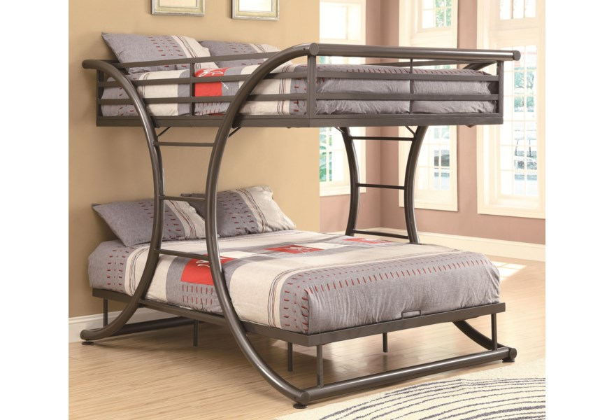 Coaster Bunks Full Over Full Contemporary Bunk Bed Standard Furniture Bunk Beds