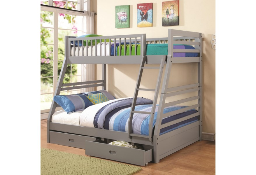 Coaster Bunks Twin Over Full Bunk Bed With 2 Drawers And Attached Ladder Value City Furniture Bunk Beds